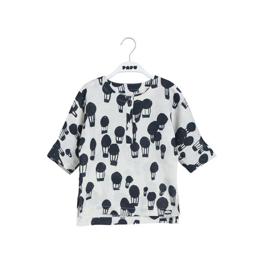Papu - LINEN SHIRT Balloon, Ice cream / Black