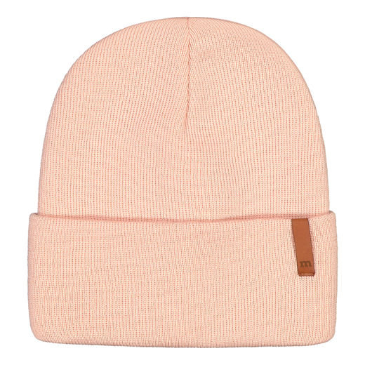 METSOLA - Knitted rib Beanie folded, Rose Smoke