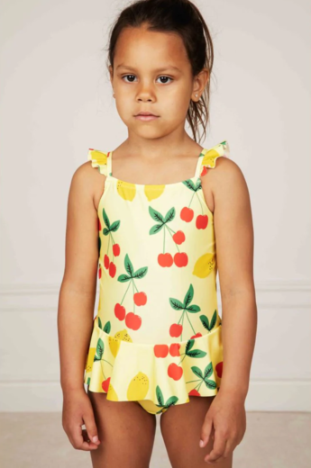Mini Rodini - Cherry lemonade skirt swimsuit UPF 50+, Yellow