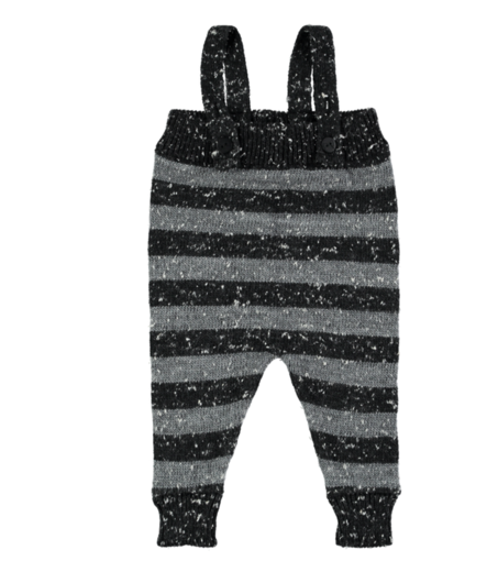 Mini Sibling - Knit Romper w/suspenders, Grey Melagne / Stripes