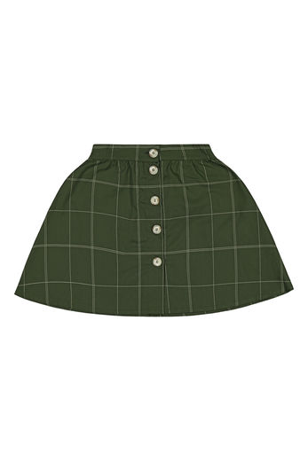 Kaiko - Grid Button Skirt, Moss