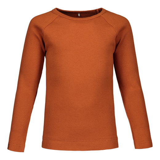 METSOLA - RIB Basic T-Shirt LS, Roasted Pecan
