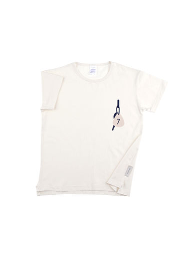 Tinycottons - 'keys room nº7' SS relaxed graphic tee, off-white/navy/stone