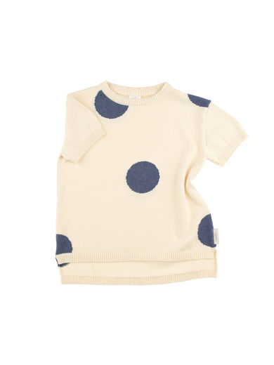 Tinycottons - Dots SS sweater, off-white/light navy
