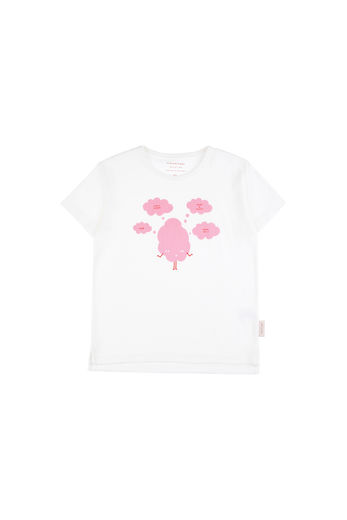 Tinycottons - SWEET & FLUFFY SS TEE, Off-white / Pink