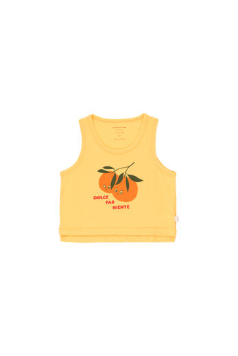 Tinycottons - ORANGES CROP TANK TOP, yellow/brick