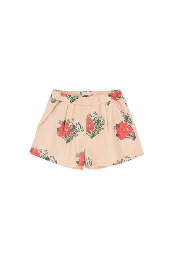 Tinycottons - FLOWERS PLEATED SHORT, cappuccino/red