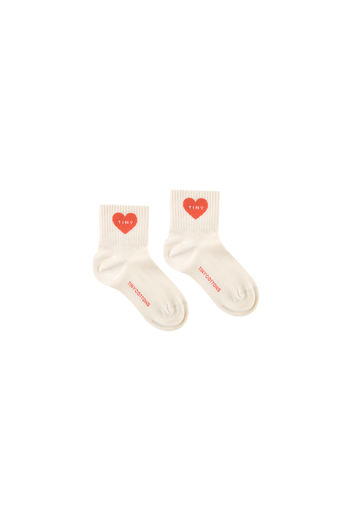 Tinycottons - HEART QUARTER SOCKS, light cream/red