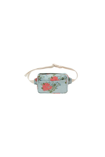 "Tinycottons - ""FLOWERS"" FANNY BAG, sea green/red"