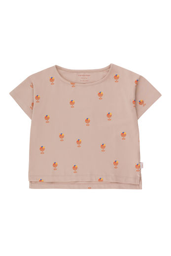 Tinycottons - ICE CREAM CUP CROP TEE, dusty pink/papaya, SS21-011