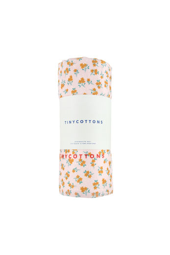 Tinycottons - FLOWERS TOWEL, pastel pink/honey, SS21-398
