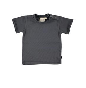 Mini Sibling - Short Sleeve Baby Top, Charcoal