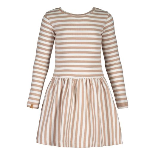 Metsola - Rib stripe dress, latte/white