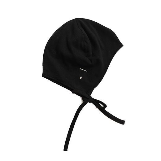 Gray label- Baby hat with strings, nearly black