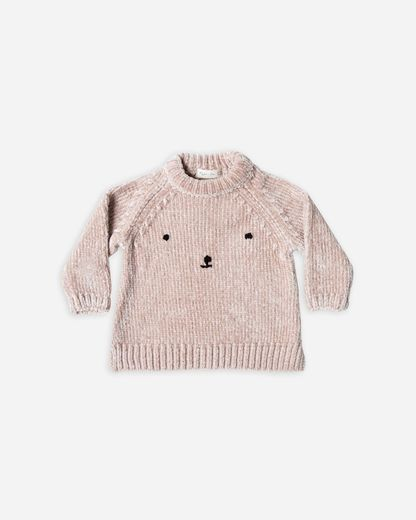 Rylee + Cru - Bear face chenille sweater, Petal