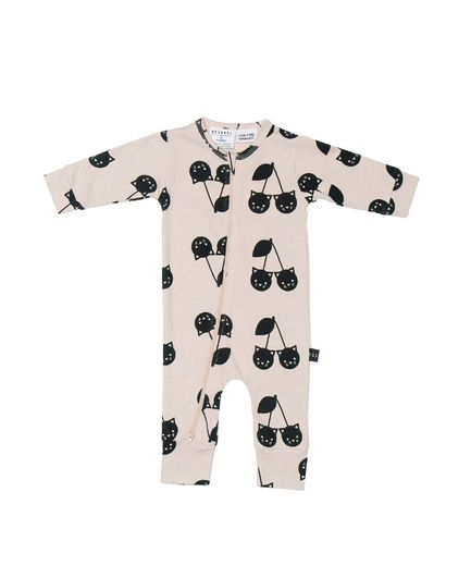 Huxbaby - Cherry cat zip romper