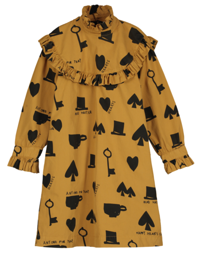 Beau LOves - Collar dress wonderland aop, dark camel
