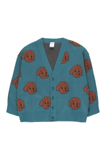 "Tinycottons - ""DOG"" CARDIGAN sea blue/dark brown"