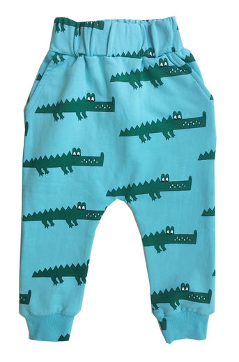 Hugo loves Tiki - Drop crotch sweat pants blue crocodile, blue