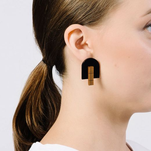 Yo zen - Architect stud earrings, amber millimeter