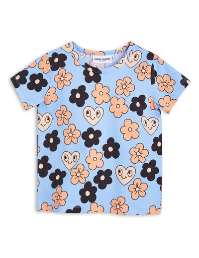 mini rodini - Flowers SS tee, lt blue