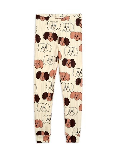 Mini Rodini - Fluffy dog aop leggings, Beige
