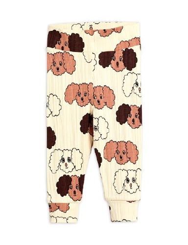 Mini Rodini - Fluffy dog aop nb leggings, Beige