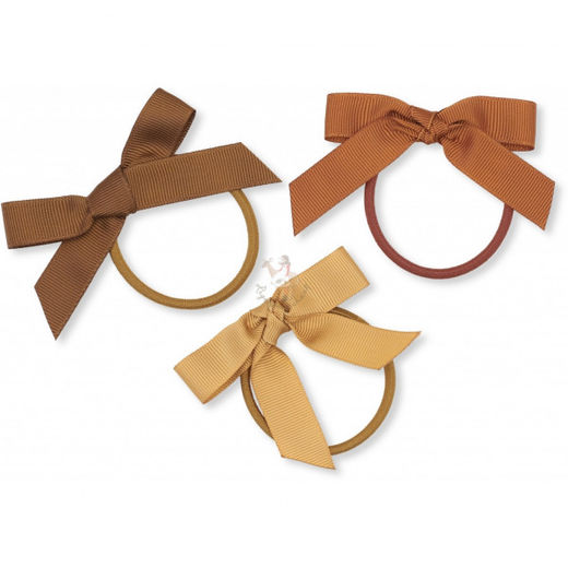 Konges Slojd - 3 pack elastic hair bow, moonbeam
