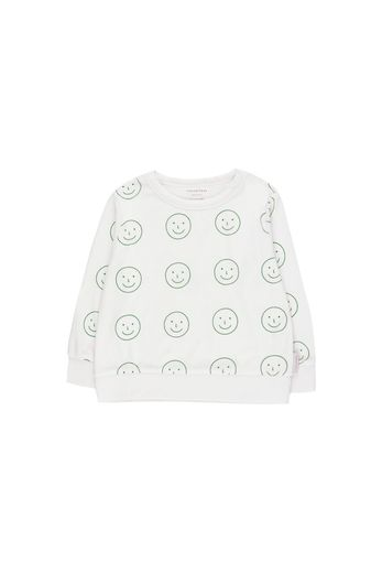 Tinycottons - HAPPY FACE' SWEATSHIRT  off-white/deep green