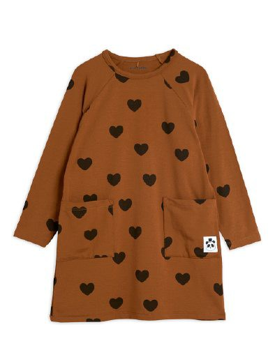 Mini Rodini - Hearts ls dress, brown