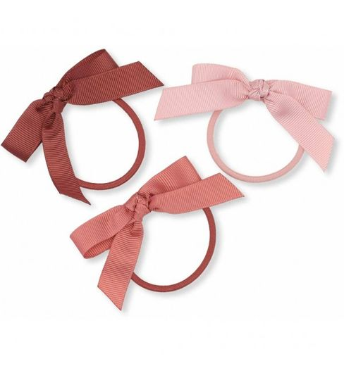 Konges Slojd - 3 pack elastic hair bow, pink