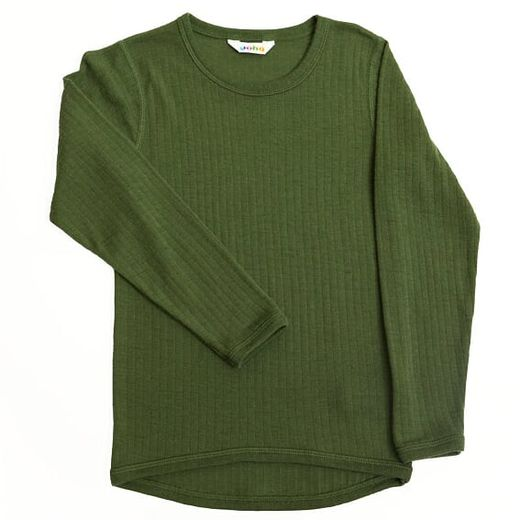 Joha - Merinowool tee, bottle green