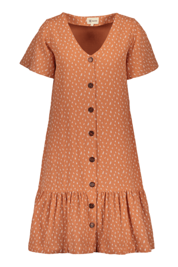Kaiko - Women / Frill Button Dress, Vintage Leaf