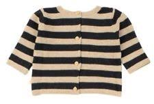 Mini Sibling - Knit Reversable Sweater-Cardigan, oatmeal stripes