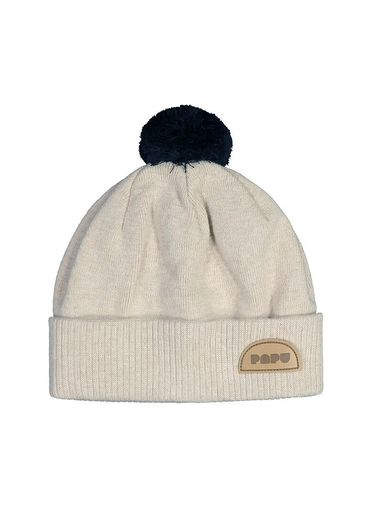 Papu - KNIT POM POM BEANIE ADULT, Cream melange, Black