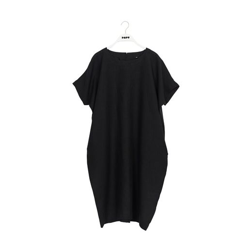 Papu - LINEN DRESS, solid black