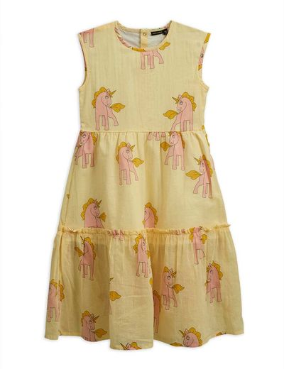 Mini Rodini - Unicorns woven long dress, yellow