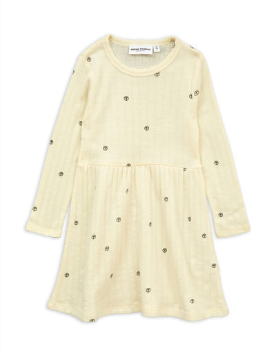 Mini Rodini - Peace pointelle wool dress, offwhite