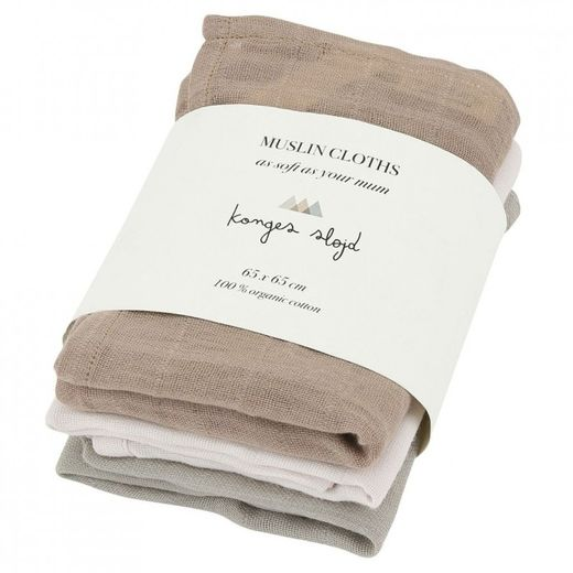 Konges Slojd - 3 pack muslin cloths, rose dust