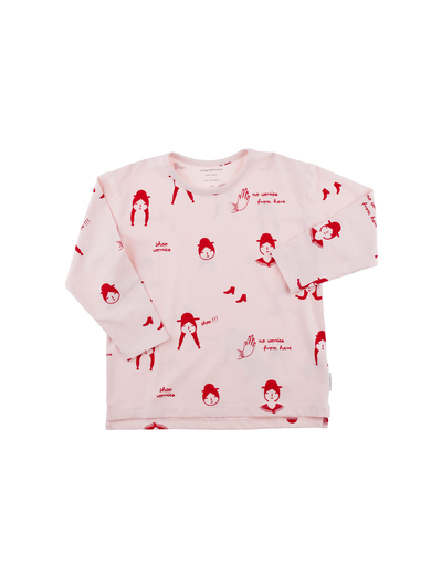 Tinycottons - No-worry dolls ls relaxed tee, pale pink/red