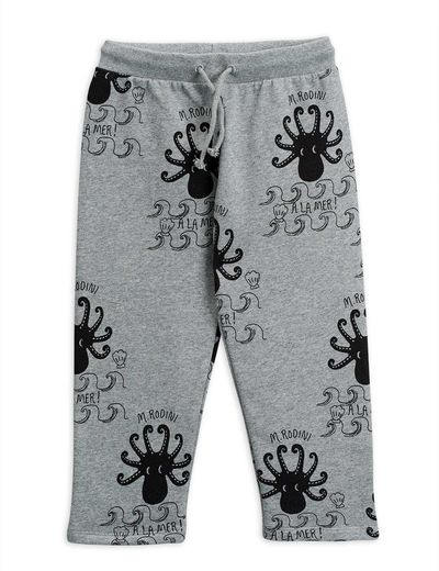 Mini Rodini - Octopus sweatpants, grey melange