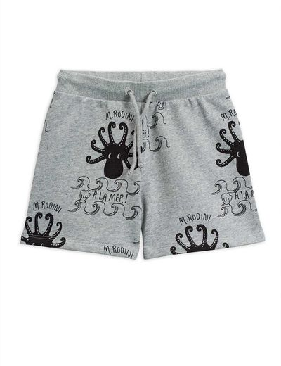Mini Rodini - Octopus aop sweatshorts, grey melange