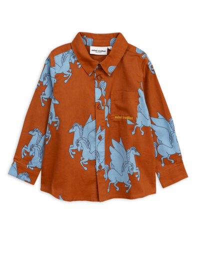 Mini Rodini -  Pegasus woven shirt, Brown