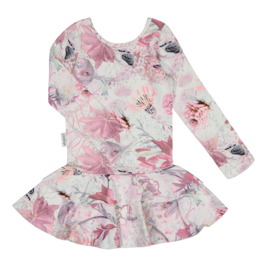 Gugguu - Print frilla dress, pink hummingbird