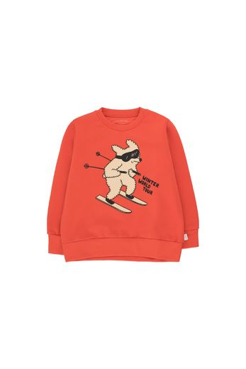"Tinycottons -  ""SKIING DOG"" SWEATSHIRT red/cappuccino"