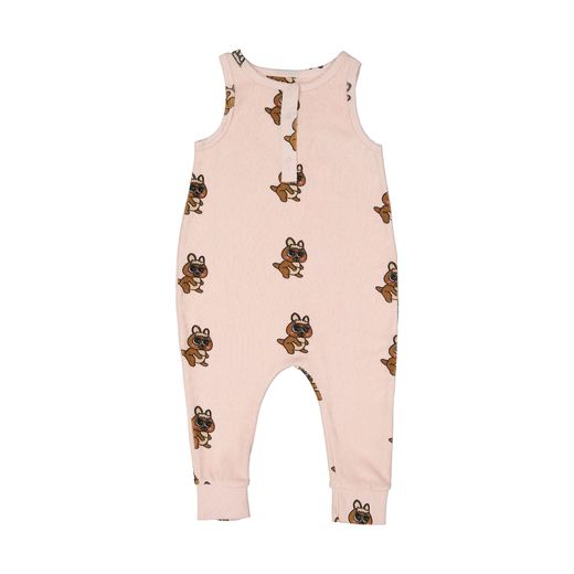 Hugo loves Tiki - Terry Long Leg Romper, Brown Canguro