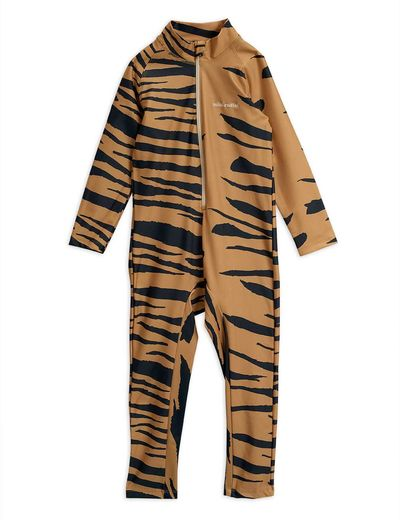 Mini Rodini - Tiger aop UV suit, brown