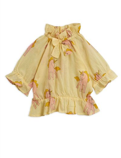 Mini Rodini - Unicorns woven bow blouse, yellow