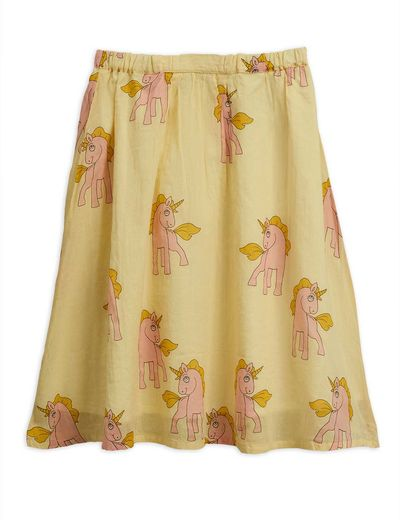 Mini Rodini - Unicorns long skirt, yellow