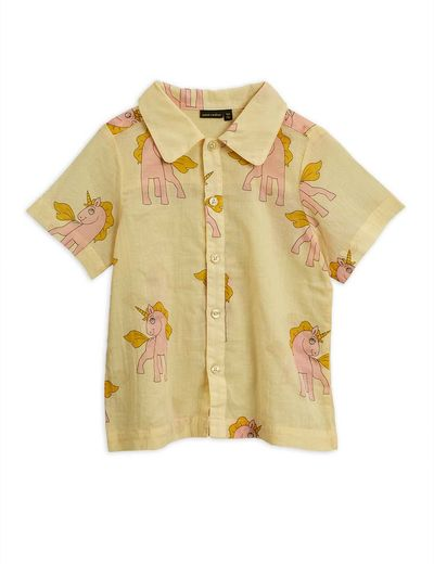 Mini Rodini - Unicorns woven SS shirt, yellow